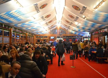 Heated Beer Tents, Belfast Christmas Market at City Hall Northern Ireland