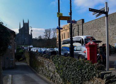 Street Parking, Saint Patricks Day Parade in Downpatrick Northern Ireland