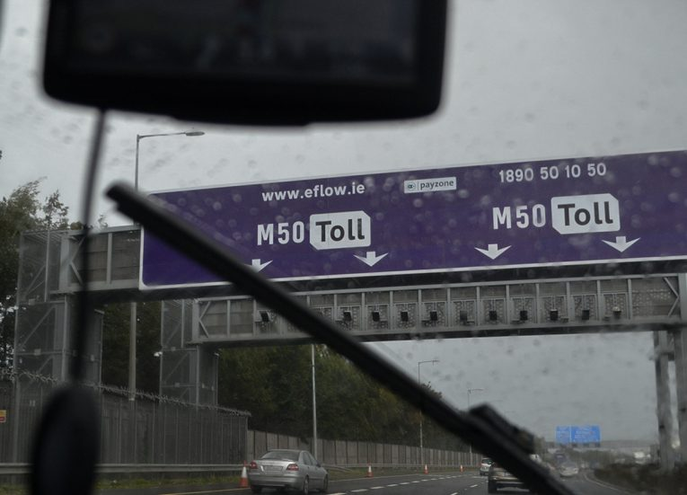Signs to Pay the M50 Toll Fine Dublin Ireland
