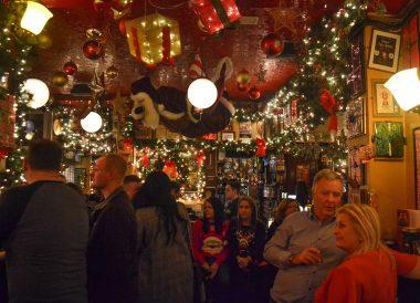 Temple Bar Pub during Christmas in Dublin City Centre Ireland