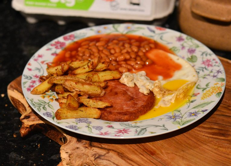 Fried Pek Pork, Fried Egg, Baked Beans and Chips B&M Food in Northern Ireland